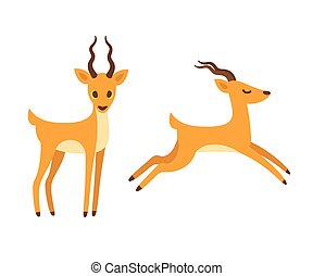 Antelope cartoon illustration. - African antelope cartoon...