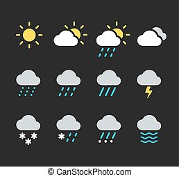 Weather icons set - Modern weather icons set. Flat vector...