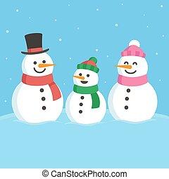 Cute snowman family