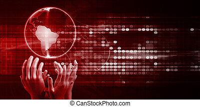 Global Distribution System with Hands Reaching for Globe