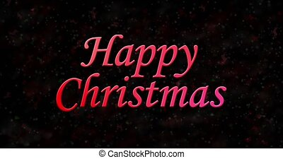 Happy Christmas text turns to dust from bottom on black animated background