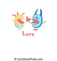 Wonder card with monsters - Bright card with love with...