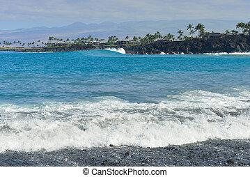Mauna Lani beach Big Island of Hawaii - ocean seen from...