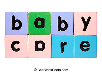 baby care in toy play block letters with clipping path on...