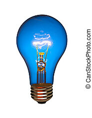 Blue light bulb, isolated - Blue light bulb on white,...