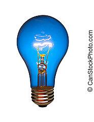 Blue light bulb, isolated - Blue light bulb on white,...