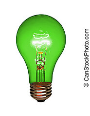 Green light bulb, isolated - Green light bulb on white,...