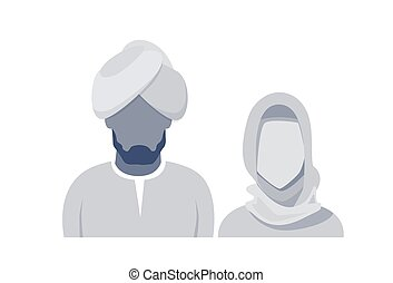 Arab Profile Icon Male And Female Avatar Man Woman, Muslim Cartoon Couple Portrait