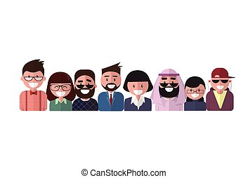 Profile Icon Male And Female Avatar, Woman Man Cartoon Portrait, Mix Race Person Silhouette Face
