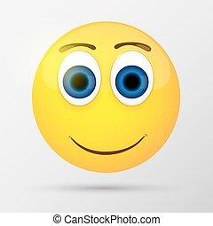 Cute smiling emoticon, emoji, smiley. Vector illustration.