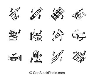 Music wind instruments black line vector icons set - Music...