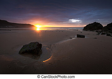 Caswell Bay sunrise - Sunrise at Caswell Bay, one of the...