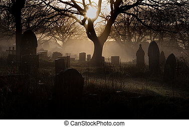 Spooky graveyard - A spooky church graveyard on a misty...