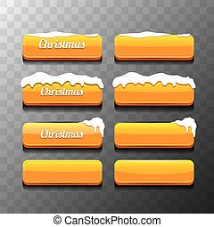 Christmas vector orange glossy buttons set