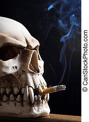 Smoking death - Close up of a smoking skull