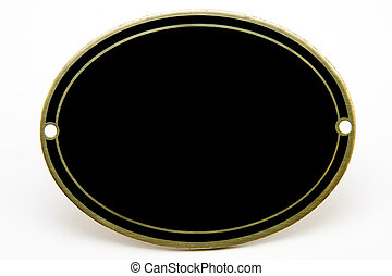Black and gold blank oval medallion on isolated white...