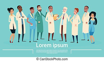 Group Medial Doctors Team Clinic Banner Flat Vector...