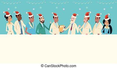 Group Medial Doctors Team Wear Santa Claus Hat Merry...