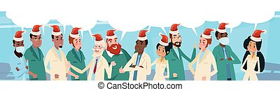 Group Medial Doctors Team With Chat Box Wear Santa Claus Hat...