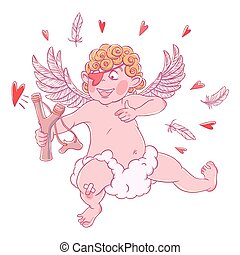 DIVERTENTE, valentine, fionda, cupido, pezza, giorno,...
