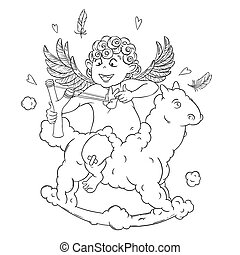Valentine's day. Funny Cupid on a cloud horse shoots with a slingshot.