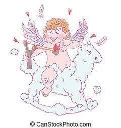 DIVERTENTE, cavallo, valentine, fionda, cupido, giorno,...