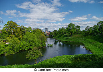 Canal around Kastellet, a fortress in Copenhagen. Denmark