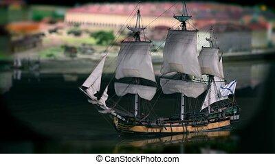 Sailing ship close to - wooden sailing ship with three mast...