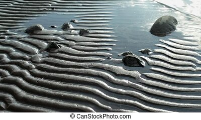 Waves on a striped beach