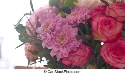 decorative bouquet of flowers decorated close up flower -...