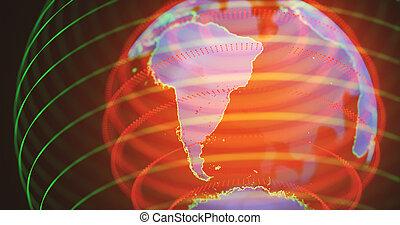 Hologram South America - 3D illustration. Hologram of planet...
