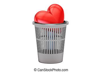 Trash bin with red heart, 3D rendering isolated on white...