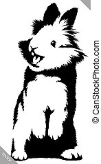 black and white linear paint draw rabbit vector illustration...