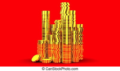 Gold Coins On Red Background - Loop able 3DCG render...