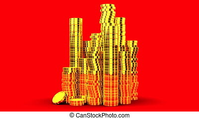 Gold Coins On Red Background - 3DCG render Animation.