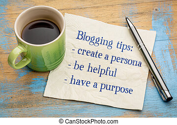 Blogging tips on napkin - Blogging tips - handwriting on a...