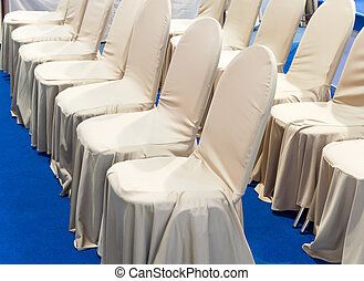 Luxury chair with the fabric cover.