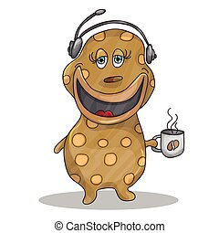 Fun Cartoon Character Phone Operator with a cup of hot...