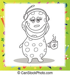Fun Cartoon Character Phone Operator - coloring book - Fun...