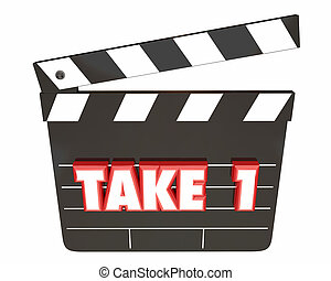 Take 1 One First Attempt Try Scene Movie Clapper Board 3d...