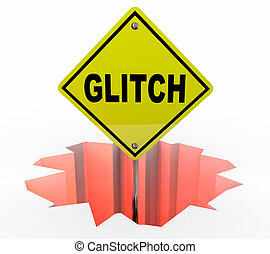 Glitch SIgn Word Hole Problem Error Fix 3d Illustration