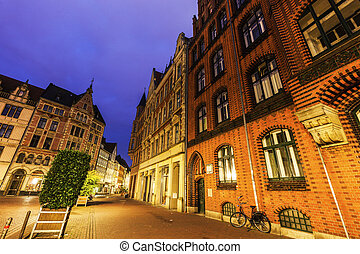 Old Town Hall of Hanover at night. Hanover, Lower Saxony,...