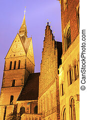 Marktkirche and Old Town Hall in Hanover. Hanover, Lower...