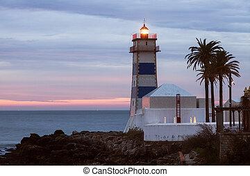 Santa Marta Lighthouse in Cascais. Cascais, Lisbon,...