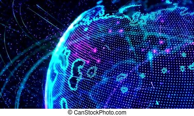3d animation of a growing network across the world - blue...