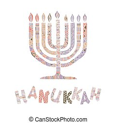 Cute Hanukkah greeting card, invitation