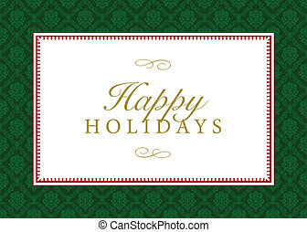 Vector Green Happy Holidays Pattern and Frame