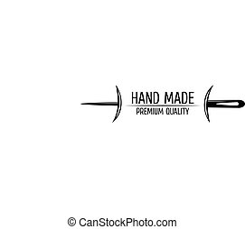 Retro Handmade, hand sewing and tailor shop logotype Design elements.Vintage badge and label