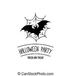 Bat on spider web. vector illustration.