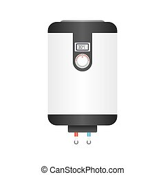 Electric boiler flat icon, water heater isolated on white...